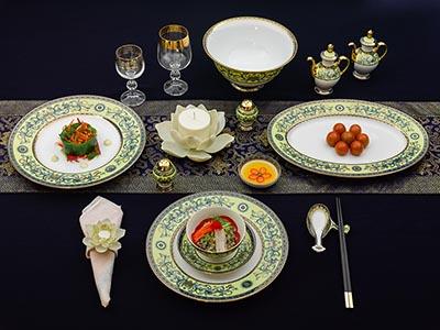Bộ đồ ăn Hoàng Liên 6 người phong cách Á 40 sản phẩm