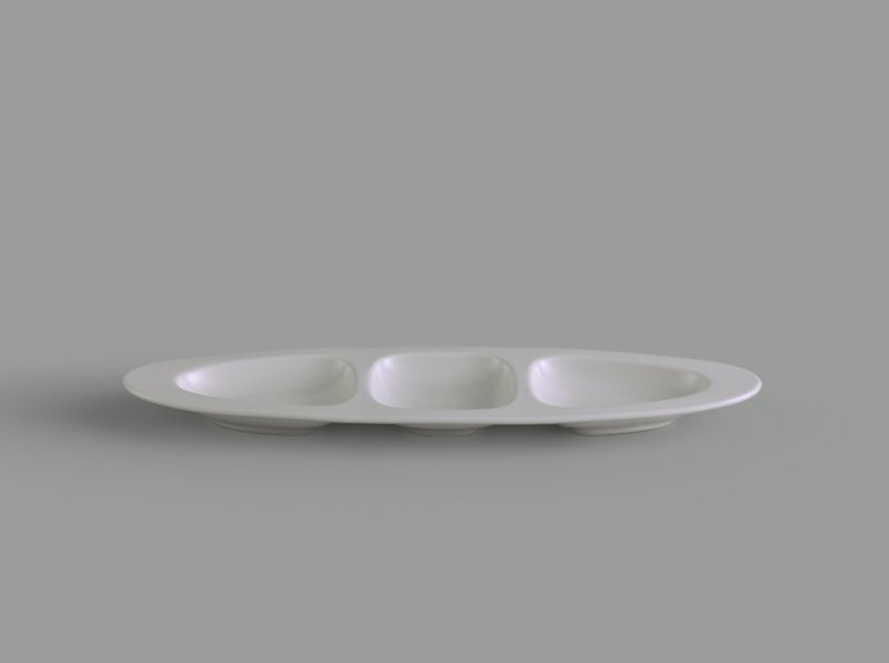 Dĩa oval 3 ngăn 28 cm Gourmet trắng ngà