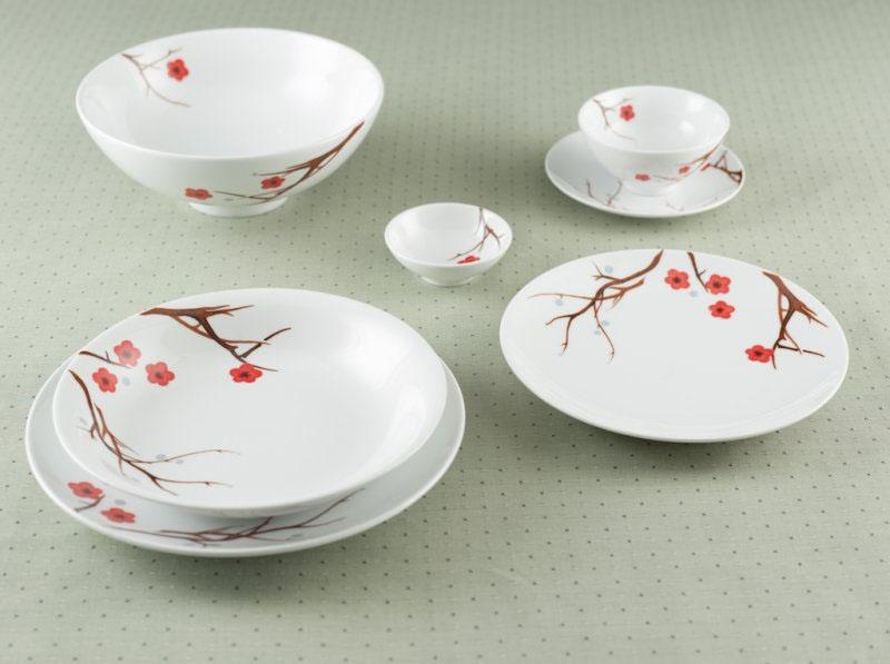 Bộ bàn ăn hồng mai 22 sản phẩm