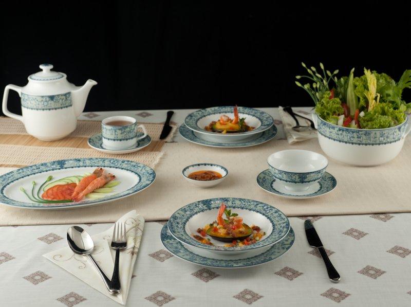 Bộ đồ ăn Jasmine Vinh Quy Nhạt 22 sản phẩm