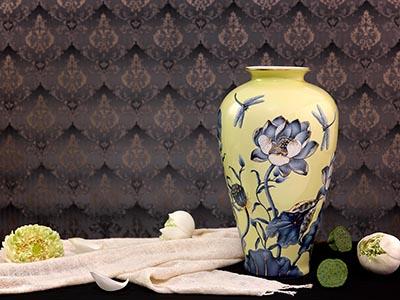 Bình hoa Sen nền vàng 40cm