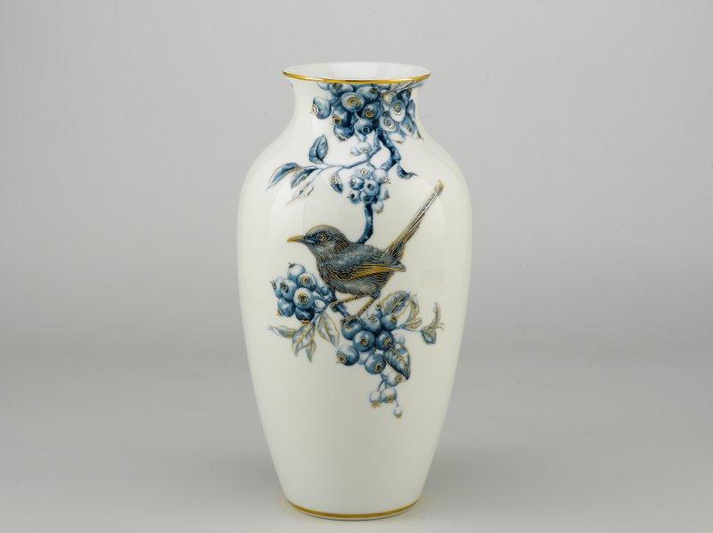 Bình hoa Chim Chích Chòe Hoa văn Cobalt - nhũ vàng