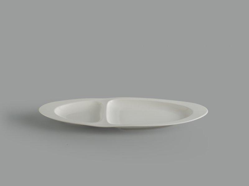 Dĩa oval 2 ngăn 40 cm Gourmet trắng ngà