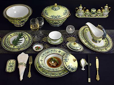 Bộ bàn ăn Hoàng Liên 6 người Âu-Á 82 sản phẩm