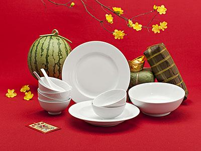 Quà tặng tết bộ bàn ăn Jasmine trắng 9 sản phẩm