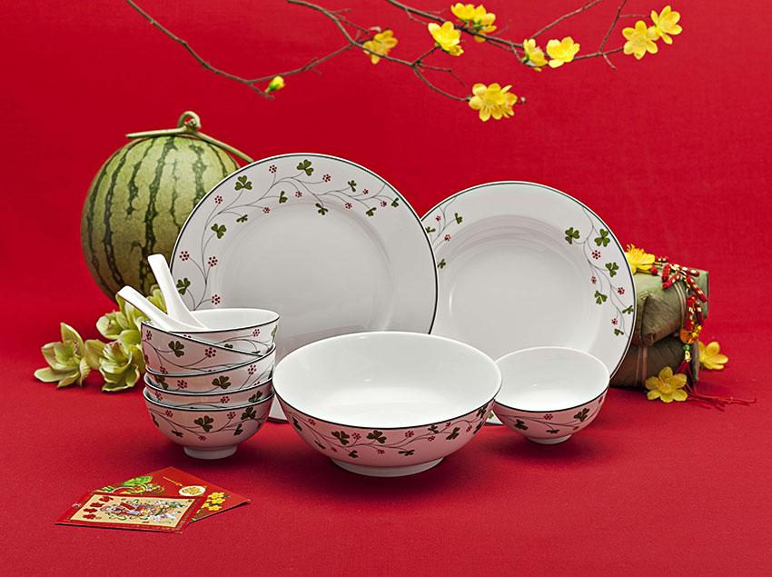 Quà tặng tết bộ bàn ăn hoa may mắn 9 sản phẩm